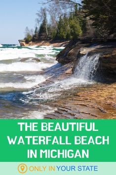 A walk along this waterfall beach in Michigan is sure to enchant you. It's p… A walk along this waterfall beach in Michigan is sure to enchant you. It's perfect for hikers, romantic strolls, and photographers! Michigan Vacations, Michigan Travel, Vacation Trips, Vacation Spots, Day Trips, Vacation Ideas, Lake Michigan, Midwest Vacations, Traverse City Michigan