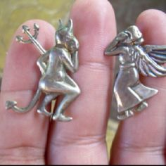 Whispering angel and devil earrings