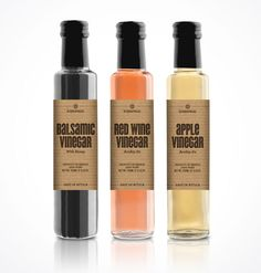 Diseño de packaging para botellas de vinagre | Vinegar Labels Packaging