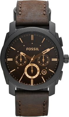 Fossil Men's FS4656 Leather Crocodile Analog with Brown Dial Watch < $120.00 > Fossil Watch Men...