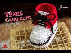 Tênis de Crochê Infantil Cano Alto   Professora Simone   Parte 1 - YouTube