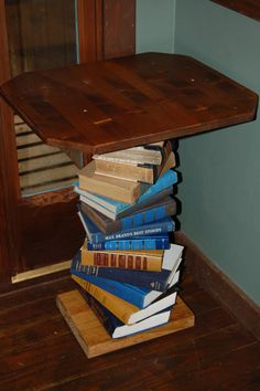Pine Wood Side Table Made With A Spiral Of Books By BeansBounties