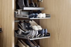 The contemporary shoe pull-out that gives a clear overview Living Room Units, Living Area, Dressing Room, Wardrobes, Shoe Rack, Floating Shelves, Contemporary, Storage, Interior