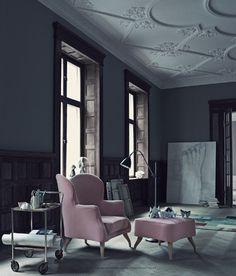 living room. pink. wood. ceiling. space.