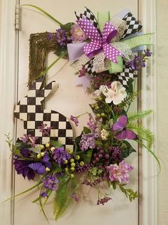 Spring Bunny Wreath, Easter Wreath, Spring Wreath, Country Check Bunny, Country Wreath, Spring Decor, Bunny Decor, Easter Decor, Spring Wall by SouthTXCreations on Etsy