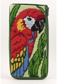 Eyeglass Case - Parrot - Needlepoint Kit: A wonderful first or on-the-go project; perfect for quick gifts! Everything is included except scissors, and pre-assembled so finishing is not required. This style is perfect for glasses or cellphones. Needlepoint Christmas Stocking Kits, Needlepoint Stockings, Needlepoint Pillows, Needlepoint Stitches, Needlepoint Kits, Needlepoint Canvases, Cross Stitch Bird, Cross Stitch Patterns, Embroidery Patterns