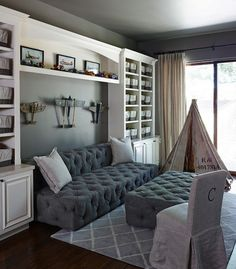 Kids playroom with reading Nook. Grey Kids playroom with reading Nook. Kids playroom with reading Nook Sofa and ottoman is from Restoration Hardware kids-playroom-reading-nook The Refined Group Contemporary Family Rooms, Toy Rooms, Reading Nook, Kids Furniture, Room Decor, Great Rooms, Couch, Living Room, Inspiration