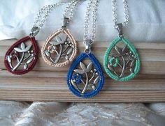 Burgundy drop pendant - Intricate oriental pendant - Embroidered pendant - Customisable pendant - Best friends necklace by zetaemme on Etsy