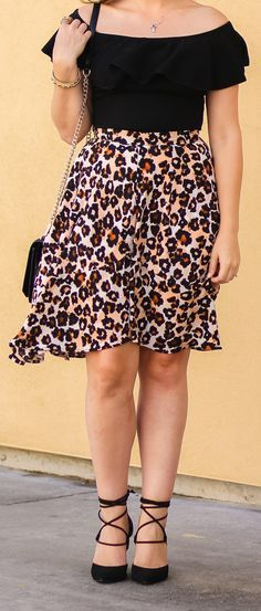 I love everything about this outfit from the fun leopard print skirt to the gorgeous black lace-up heels. Can you believe they're under $40 at @Payless ShoeSource? Click through the pin to see the full look by Ashley Brooke Nicholas! #paylessforstyle #sponsored #fall #fashion #clothing