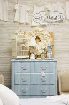 Miss Mustard Seed's Milk Paint and white wax on a dresser - love this color!