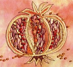 Pomegranate Textile Art