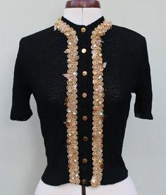 1950s 50s Vintage Black Gold Beaded Cardigan by PureEmbersEmporium