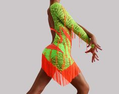 latin ballroom dress, salsa fringe costume www.crinolinatelier. it