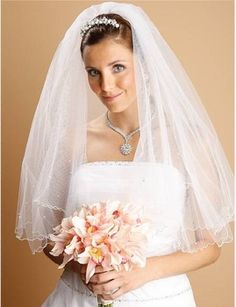 Mariell Two Tier Elbow Length Veil with Crystals and Pearls