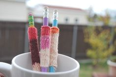 Set of 3 Pencil Sweaters. Don't want my pencils to get cold this winter!