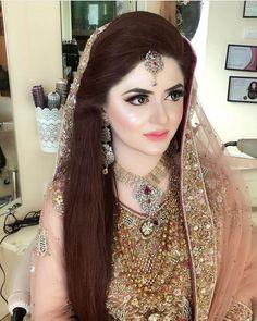 Image may contain: 1 person, closeup Bridal Outfits, Bridal Dresses, Bridal Pictures, Bridal Pics, Pakistani Couture, Afghan Dresses, Bridal Makeup Looks, Bride Look, Beautiful Bride