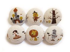 Fabric Covered Buttons - The Wizard of Oz
