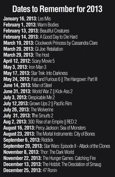 Movie dates to remember in 2013!
