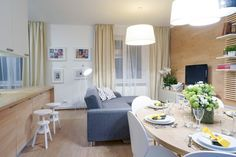 Obyvacia izba spojená s jedálňou a kuchyňou