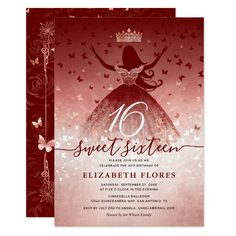 Elegant Burgundy Flowers Rose Gold Sweet 16 Invitation #Ad , #ADVERTISEMENT, #Gold#Rose#Sweet#Elegant Quince Invitations, 2nd Birthday Invitations, Sweet 16 Invitations, Elegant Invitations, Invites, Quince Themes, Quince Ideas, Quince Decorations, Red Bridal Showers