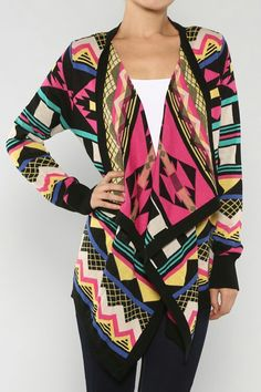 Cozy Colorful Aztec Cardigan available online at www.zkfashions.com ♥