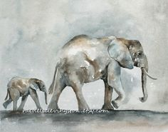 ORIGINAL Elephant painting Elephant baby by rachellelevingston, $250.00