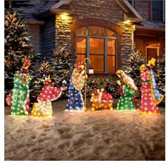 Light up your yard with this outdoor Christmas Nativity Set.  Outdoor Christmas decorations put the whole neighborhood in the Christmas spirit!