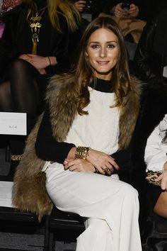 Olivia Palermo in Monika Chiang Fur Vest