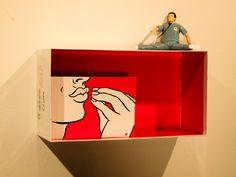 """Mmmwah. 6 x11 x4"""", Shoe box, card by Ellen Forney, plastic figure. 2014"""