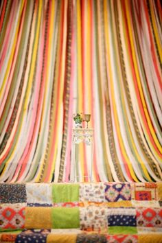 AMAZING ribbon and quilt backdrop