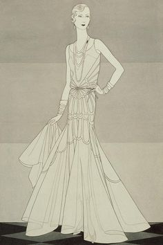 Model wearing a Chanel organdy dress illustrated by Douglas Pollard for Vogue April 1930