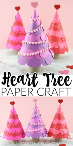 Paper hearts are layered together to create a colorful heart tree paper craft for Valentine's Day. Fun Valentine's Day paper craft for kids. valentines day crafts for toddlers How to Make a Heart Tree Paper Craft Easy Crafts To Sell, Valentine's Day Crafts For Kids, Summer Crafts, Valentine's Day Paper Crafts, Wood Crafts, Paper Crafting, Diy Crafts, Popular Crafts, Heart Tree