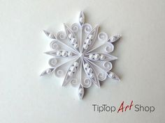 Handmade Christmas Decoration White Paper Quilling Snowflake