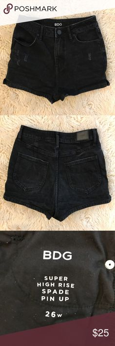 BDG Super High Rise Black Shorts Super high waisted short shorts! Worn once, washed once. In excellent used condition! BDG Shorts Jean Shorts