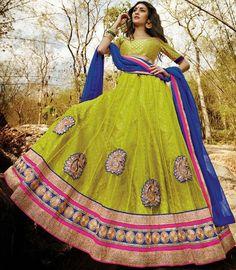 Light Olive & Blue Net Lehenga Choli ,Indian Dresses - 1