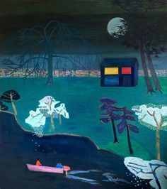 Tom Hammick. Violetta and Alfredo under the moon, 2015 oil on canvas    193 x 169 cm