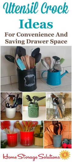 Utensil crock ideas for your kitchen, for your cooking convenience and to save drawer space on Home Storage Solutions 101 Kitchen Utensil Crock, Cooking Utensil Holder, Kitchen Utensils, Utensil Organizer, Kitchen Counters, Kitchen Storage Solutions, Diy Kitchen Storage, Baking Storage, Organization Hacks