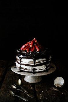 ... chocolate meringue layer cake ...