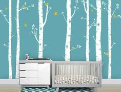 Amazon.com: Seven Big Birch Tree with Flying Birds Trees Buds Home Wall Decal Stcker Decals Decor Bedroom Room Vinyl Romoveralble: Everythin...