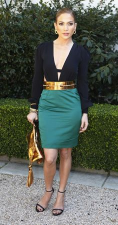 Jennifer Lopez style!  Make this work for the average gal by doing green skirt, black top, gold belt and black heels or sandals