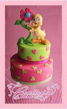 Tutorial Tweety Titty cake topper per torta in pasta di zucchero sugar p...