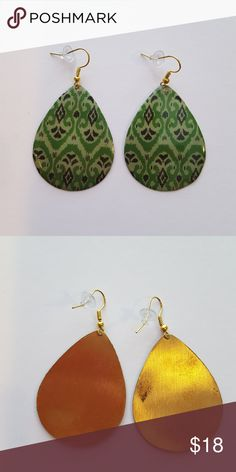 """Bohemian Print Metal Teardrop Earrings Green Boho Print Metal Teardrop Earrings on French Wires The drop is about 2.5""""  Put your jewelry in a bundle (single item or more) and I will give you a discount to help cover the cost of shipping. Jewelry Earrings"""