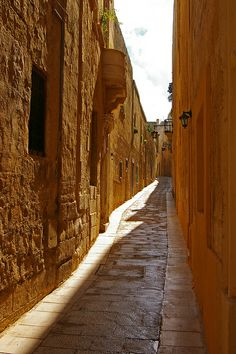 A narrow street in Mdina, Malta
