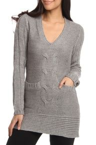 This is a nice sweater. I like the pockets and the gray is a nice sweater color.*