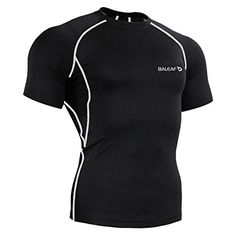 Baleaf Men's Short Sleeve Running Fitness Workout Compression Base Layer Shirt Color Grey Size M * Want additional info? Click on the image.