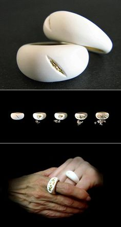 "A ding here, a scratch there — bad for your car, but it's all good when it comes to these ""Oroko"" rings by London-based Israeli designer Noam Bar Yochai. Consisting of polymer and goldleaf in millefeuille layers, the rings were designed to wear away over the lifetime of the wearer, according to each owner's unique experience"