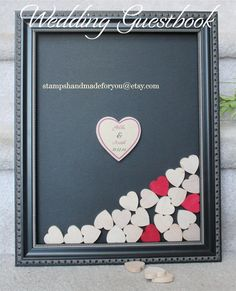 Heart drop box guest book Alternative Wedding guestbook ornate framed with hearts Wood frame 11x14 instruction card included 100 hearts
