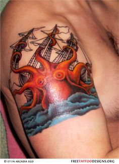 Kraken and pirate ship tattoo on a man's arm – Octopus Tattoo Octopus Tattoo Design, Octopus Tattoos, Leg Tattoos, Arm Tattoo, Cool Tattoos, Tattoo Designs, Tattoo Ideas, Kraken Tattoo, Squid Tattoo