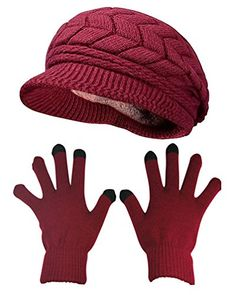 077fddc047363 HINDAWI Winter Hat Gloves for Women Knit Warm Snow Ski Outdoor Caps Touch  Screen Mittens Burgundy