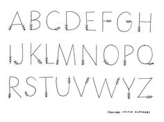 Cute alphabet, letters look like feathers on a arrow via floresita